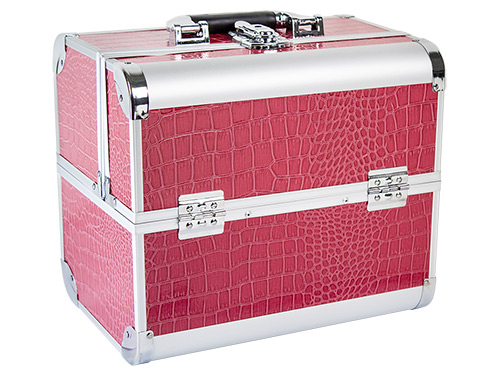 Beauty Koffer DELIGHT Aluminum croco pink