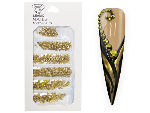 RhineStones Mix gold metallic 1364 pieces