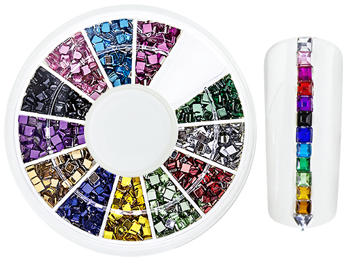 RhineStones NailArt WheelBox square