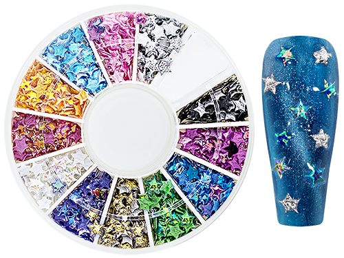 Iridescent NailArt WheelBox Stars