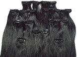 Clip-in, 100% REMY human hair, 8 pieces, silky, #1