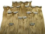 Clip-in, 100% REMY human hair, 8 pieces, silky, #18